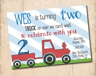 """Birthday Invitation...""""TRUCK on Over"""" / DIGITAL FILE / printable / wording and age can be changed"""