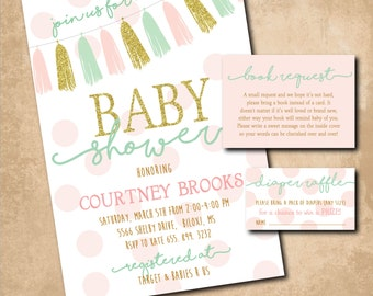 Baby Girl Shower Invitation printable/Book Request, Diaper Raffle, pink and gold, gold and pink, tassel, mint/Wording can be changed/Digital