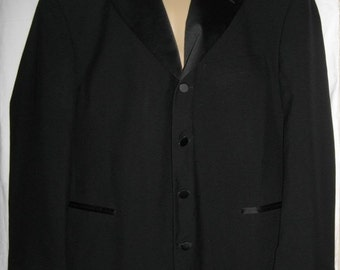 Jean Yves Black Tuxedo Jacket 50R Single Breasted 4 Buttons Wool Blazer