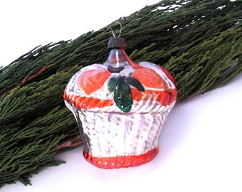 Rare Soviet Christmas tree decoration / Basket of flowers / Glass Xmas ornament / New Year / USSR, 1950s