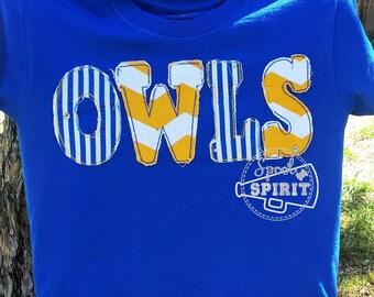 Girls School Spirit Mascot Applique TShirt Girls Youth Child Raggy Applique School Spirit Mascot Shirt Glitter Rhinestone Cheer Fan Bling