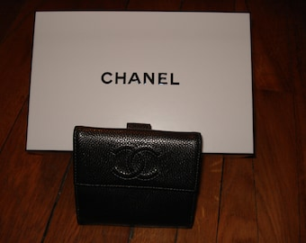 Wallet Chanel leather grained grey