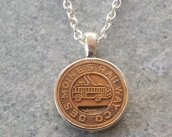 Des Moines Iowa Transit Token Pendant Necklace Handcrafted