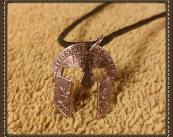Handcrafted Spartan Mask Pendant Made From U.S. Quarter