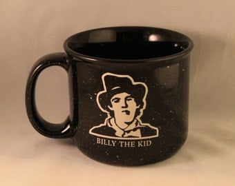 Rare Stoneware Billy the Kid Coffee Mug/Cup, Wild West, Legendary Outlaw, Etched, Tin Camp Mug Look