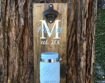 Rustic home decor,Father's day gift,Bar decor,Bottle opener,Mason jar decor,Husband gift,Boyfriend gift,Dad gift,Personalized bottle opener