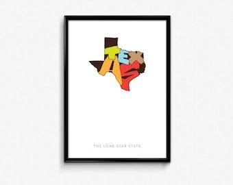 Texas Typography Poster, Texas Printable, Texas Poster, Texas Print Art, Texas Typography Map Poster, Texas Digital Prints,Typography poster