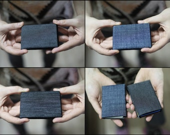 Vegan Wallet, Denim Mens Wallet, Minimalist Wallet, Womens Wallet, Slim Wallet - RFID Blocking - Perfect Birthday Present