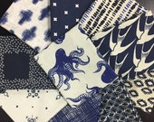 Blue and Off-White Fabric Bundle with Octopus and Geometric Prints  - 10 Fat Quarters