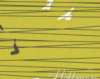 Green Bird Fabric - Grafic by Latifah Saafir for Hoffman Fabrics - Bird on a Wire in Green - Fabric By The Half Yard