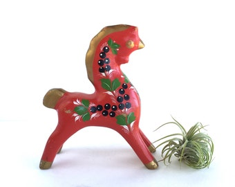 Vintage Dala Style Unicorn Horse