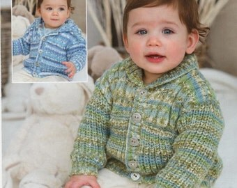 Knit Baby Cardigan Sweaters with Round Neck and Hood Buttoned Front Jackets 2 patterns Vintage Pattern Instant Download pdf