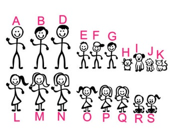 Build Your Own Stick Family Decals/Stickers