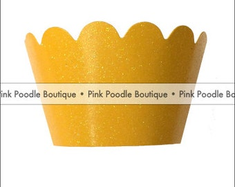 Glitter CUPCAKE WRAPPERS (12 pc)  --  Golden Mustard Yellow