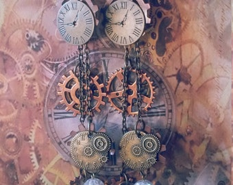 Bronze and Copper Steampunk earrings