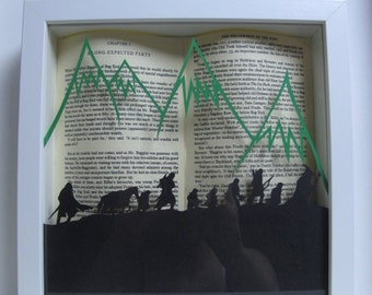 Lord of the Rings J.R.R Tolkien framed paper cutting art. Book lovers gift.