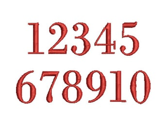 Embroidery design - Numbers Embroidery Design,font numbers 1 through 10, 1''