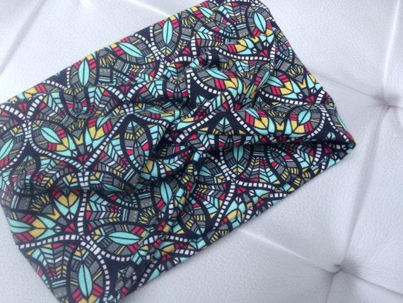Women's Turban Style Knit Fabric Headband - fall geometric stained glass fabric Soft Knit Fabric, Knot Style Headwrap