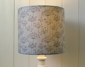 Cow Parsley and Bees drum lampshade in soft greys and blues