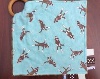 Sock monkey teething blanket, monkey blanket, sock monkey blanket, monkey sensory blanket, monkey lovey, sock monkey security tag blanket,