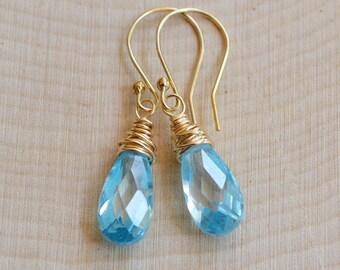 Aquamarine Earrings, Aquamarine CZ Earrings