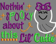 Buy 3 get 1 free!  Nothin' Spooky about this Lil' Cutie embroidery design, applique design
