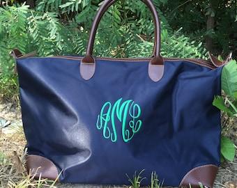 Monogram Duffle Bag - Longchamp Inspired tote - Duffle Bag -Personalized tote bag - Bridesmaid - Graduation - Teacher- ALL AROUND FAVORITE