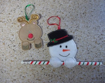 Snowman OR  Reindeer Christmas Orni- for packages, Pencils or Candy Cane holders