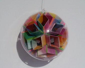 Geometric Paper Art Sphere Ornament