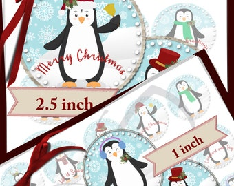 Penguin Christmas -TWO SIZES INCLUDED - 1 inch & 2.5 inch circles -  600dpi, Collage Sheets, Cupcake toppers, Gift Tags, BottleCaps, labels