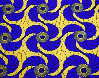 Blue & Yellow African Print Fabric - Ankara Print - Wax Print - Pagne Africain (Sold by the yard)