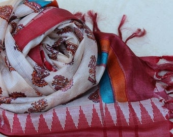 Pure Paper Silk Scarf- Hand Weaved and Hand Printed- Paisley Pattern, Mareoon and Off White