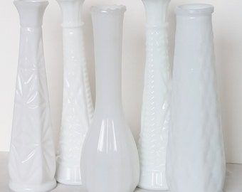 Set of 5 Vintage Milk Glass Bud Vases, Mix and Matched Styles