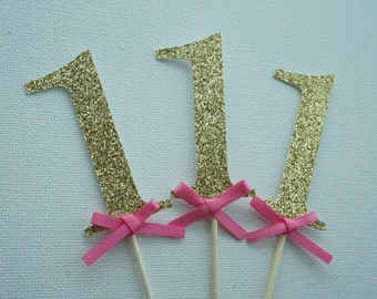 Gold Glitter Cupcake topper with pink bow .. Birthday Party .. Gold and Pink .. cupcake topper