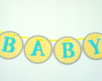 elephant themed blue and yellow baby shower banner .. blue and yellow .. baby shower