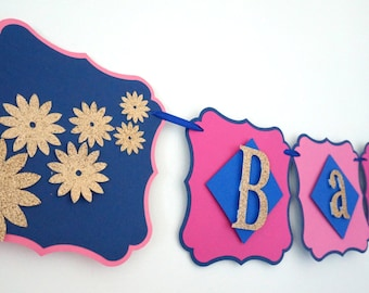 Gender neutral pink and blue baby shower banner .. pink and blue .. baby shower.. banner