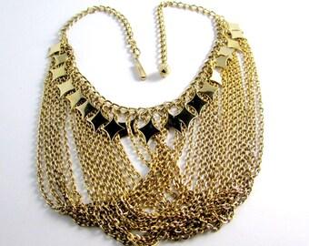 70s multi chain diamond drops goldtone bib necklace   vintage waterfall bold statement   retro 1970s boho diva disco era   stylish modern