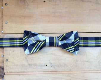 Hand Made Navy/Lemon Yellow/White Plaid Bow Tie, Made From Reclaimed Cotton.