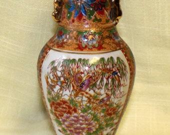 Signed Gryphonware Urn Style Vase Floral Birds Gold Gilt Trim #2301250