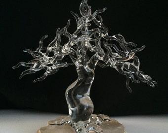 Handblown Glass Bonsai Tree Sculpture