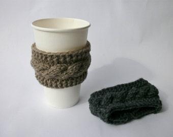 Knit coffee cup cozy Coffee sleeve Coffee koozie Travel mug sleeve Coffee cup sleeve Cable knit coffee cup cozy