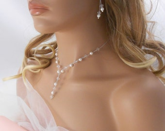 """Set of wedding jewelry """"Eugénie"""", with white pearly beads and crystal beads . Bridal jewelry !"""