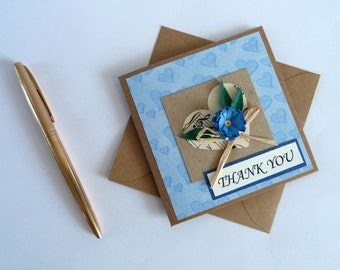 "Quilled Flower Thank You Card in French or English, Blue Size 4""x 4"" #CavETsy"