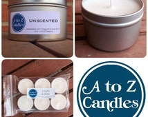 UNSCENTED Candle, Unscented Soy Candles, Unscented Candles, Ambiance Candles, 2 oz, 4 oz, 8 oz, 16 oz Tin, Tea Lights, Vegan Soy Candles