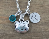 Personalized Cat Necklace - Hand stamped Monogram Cat Lover Necklace - Initial, Birthstone Necklace - Party Favors - Little Girl Necklace