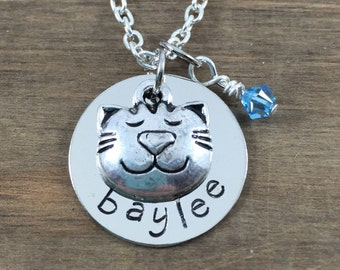 Personalized Cat Necklace - Hand stamped Name Necklace with Cat Charm - Custom Cat Lover Jewelry - Little Girl Necklace - Birthday Gift