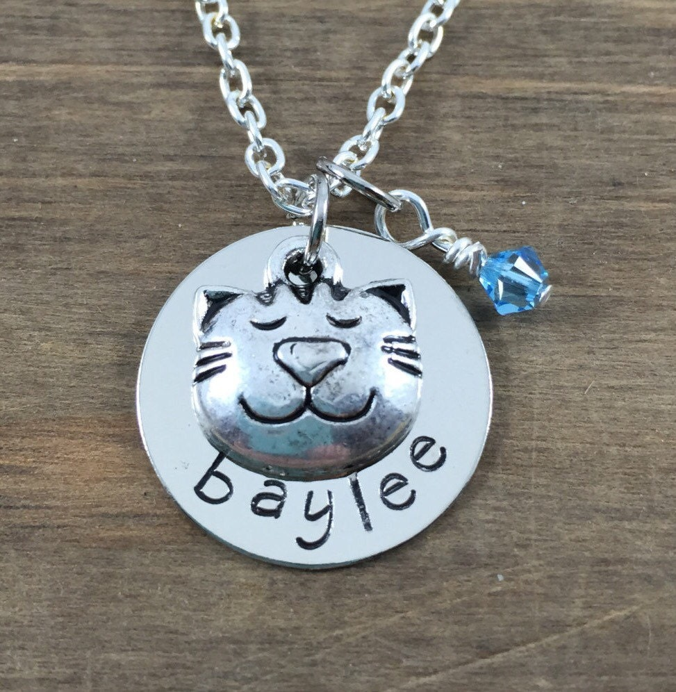 Personalized cat necklace hand stamped name necklace with for How to make hand stamped jewelry