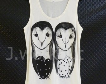 Barn owl tank top Off-white shirt/ woman teen girl men clothing size S/ M/ L sleeveless top