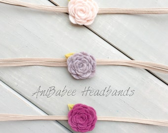 Baby Flower Headband Set, Baby Headband, Felt Flower Headband, Purple Flower Headband, Newborn Headband, Baby Shower Gift, Baby Gift