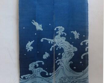 """traditional cotton noren, door way curtain. (WE09-64) 35""""W x 59""""L"""